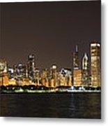 Beautiful Chicago Skyline With Fireworks Metal Print