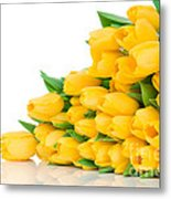 Beautiful Yellow Tulips Valentine Metal Print