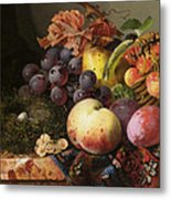 Birds Nest Butterfly And Fruit Basket Metal Print by Edward Ladell