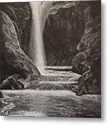 Black And White Waterfall Metal Print by Svetlana Rudakovskaya