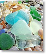 Blue Green Sea Glass Coastal Art Metal Print