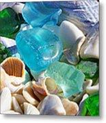 Blue Green Seaglass Shells Coastal Beach Metal Print by Baslee Troutman