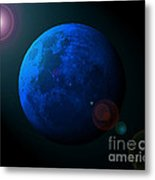 Blue Moon Digital Art Metal Print