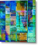 Blue Squares Abstract Art Metal Print
