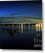 Boating - The Marina At Night Metal Print