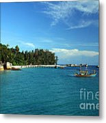 Boats With Beautiful Sea Metal Print by Boon Mee