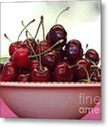 Bowl Of Cherries Closeup Metal Print by Carol Groenen