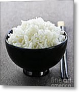 Bowl Of Rice With Chopsticks Metal Print