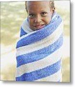 Boy In Towel Metal Print by Kicka Witte