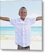 Boy On Beach Metal Print by Kicka Witte