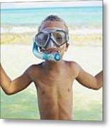 Boy With Snorkel Metal Print