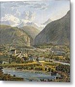 Brig On The Rhone, Bernese Alps Metal Print