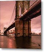 Brooklyn Bridge - Red Morning Metal Print by Gary Heller