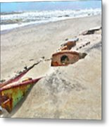 Buried Treasure - Shipwreck On The Outer Banks I Metal Print by Dan Carmichael