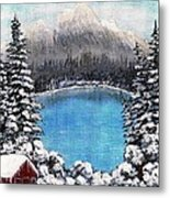 Cabin By The Lake - Winter Metal Print by Barbara Griffin