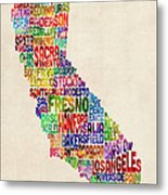 California Typography Text Map Metal Print