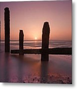 Camber Sands Sunset Metal Print by Mark Leader