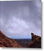 Canyon Entrance Distant Storm Metal Print