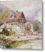 Chalet, Brunnen, Lake Lucerne Metal Print
