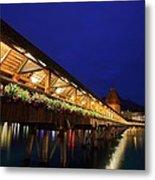Chapel Bridge At Lucerne In Switzerland Metal Print by Jetson Nguyen