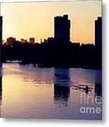 Charles River Rower At Dawn Metal Print by Kenny Glotfelty
