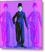 Charlie Chaplin The Tramp Three 20130216m108 Metal Print by Wingsdomain Art and Photography