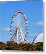 Chicago Navy Pier Ferris Wheel Metal Print by Christine Till