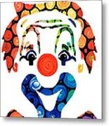 Clownin Around - Funny Circus Clown Art Metal Print by Sharon Cummings