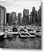 coal harbour marina and high rise apartment condo blocks in the west end Vancouver BC Canada Metal Print