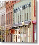 Colorful Shops Quaint Street Scene Metal Print by Ann Powell