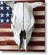 Cow Skull On Folk Art American Flag Metal Print by Garry Gay