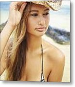 Cowboy Hat At The Beach Metal Print by Kicka Witte