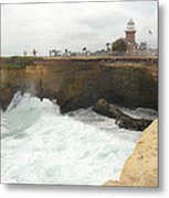 Crashing Surf Near The Lighthouse Metal Print by Ron Regalado