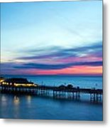 Cromer Pier At Sunrise On English Coast Metal Print