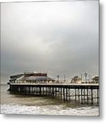 Cromer Pier On A Muggy Cold Day Metal Print by Fizzy Image
