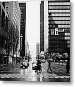 crosswalk at west georgia and hornby downtown in the rain Vancouver BC Canada Metal Print by Joe Fox