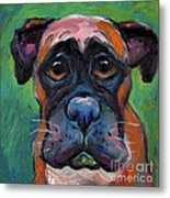 Cute Boxer Puppy Dog With Big Eyes Painting Metal Print by Svetlana Novikova