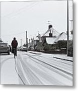 Cyclist In The Snow Metal Print by Tom Gowanlock