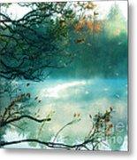 Dreamy Nature Aqua Teal Fog Pond Landscape Metal Print by Kathy Fornal