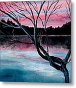 Dusk Lake Arrowhead Maine  Metal Print