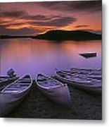 D.wiggett Canoes On Shore, Pink And Metal Print by First Light