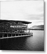 early morning at the Vancouver convention centre west building on burrard inlet BC Canada Metal Print by Joe Fox
