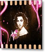 Elizabeth Taylor - Pink Film Metal Print by Absinthe Art By Michelle LeAnn Scott