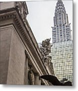 Empire State Building And Grand Central Station Metal Print by For Ninety One Days