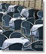 Empty Restaurant Seats And Tables Metal Print