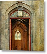 Entrance To The Gothic Revival Chapel. Streets Of Dublin. Painting Collection Metal Print
