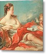 Erato  The Muse Of Love Poetry Metal Print by Francois Boucher