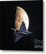 Eurofighter Against A Harvest Moon Metal Print by Peter McHallam