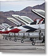 F-16c Thunderbirds On The Ramp Metal Print by Terry Moore