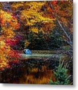 Fall Pond And Boat Metal Print by Tom Mc Nemar